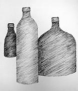 Pen  Drawings - Still Life with Three Bottles by Michelle Calkins