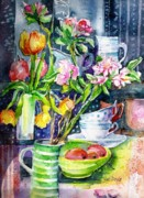 Still Life With Tulips And Apple Blossoms  Print by Trudi Doyle