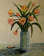 Cut Flowers Paintings - Still Life with Tulips by Joanne Smoley