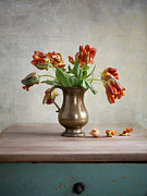 Pewter Jug Prints - Still Life with Tulips Print by Nailia Schwarz