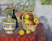 Fruit Still Life Posters - Still Life with Tureen Poster by Paul Cezanne