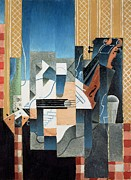Guitars Painting Framed Prints - Still Life with Violin and Guitar Framed Print by Juan Gris