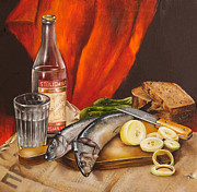 Food And Beverage Art Prints - Still Life with Vodka and Herring Print by Roxana Paul