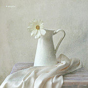 Textile Posters - Still Life With White Flower Poster by by MargoLuc