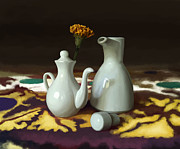 Jugs Prints - Still life with white jugs Print by Artyom Ernst