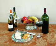 Wine And Art Posters - STILL LIFE WITH WINE AND FRUIT cheese picture interior design decor Poster by John Samsen
