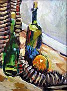 Interior Still Life Drawings Metal Prints - Still Life with wine bottles Metal Print by Piotr Antonow