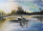 Canoe Pastels Metal Prints - Still Moment Metal Print by Janice Robertson