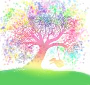 Swing Digital Art Prints - Still more rainbow tree dreams 2 Print by Nick Gustafson