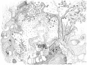 Parable Drawings Posters - Still Point in a Sea Change Poster by Regina Valluzzi