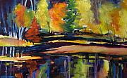 Trees Reflecting In Water Painting Posters - Still Reflections of Autumn SOLD Poster by Therese Fowler-Bailey