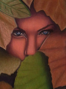 Tree Leaf Pastels Framed Prints - Still She Hides Framed Print by D Rogale
