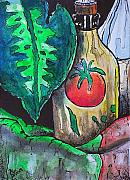 Oranges Drawings - Stilllife with wine bottle II by Amy Williams