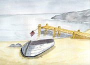 Boat Drawings Prints - Stillness at the beach Print by Eva Ason