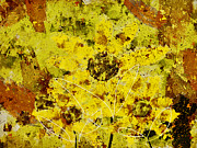 Yellow Digital Art Prints - Stimuli Floral - s07bt01 Print by Variance Collections