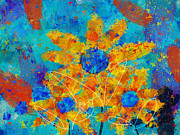 Vibrant Colors Digital Art Prints - Stimuli Floral s01 Print by Variance Collections