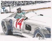 Stirling Moss Drawings - Stirlig Moss Mercedes Benz Grand Prix of Belgium by Paul Guyer