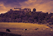 Historical Pyrography Prints - Stirling Castle Sunset Print by Stephen McCluskey