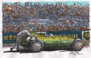Stirling Moss Drawings - Stirling Moss BRM French Grand Prix by Paul Guyer