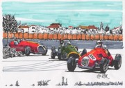Stirling Moss Drawings - Stirling Moss Ferrari Grand Prix of Italy by Paul Guyer