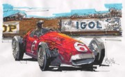 Stirling Moss Drawings - Stirling Moss Maserati French Grand Prix by Paul Guyer