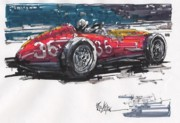 Stirling Moss Drawings - Stirling Moss Maserati Grand Prix of Italy by Paul Guyer