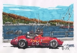 Stirling Moss Drawings - Stirling Moss Maserati Grand Prix of Monaco by Paul Guyer