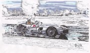 Stirling Moss Drawings - Stirling Moss Mercedes Benz Grand Prix of Argentina by Paul Guyer
