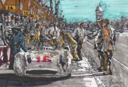 Stirling Moss Drawings - Stirling Moss Mercedes Benz Italian Grand Prix by Paul Guyer