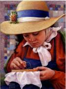 Embroidery Re-enactor Framed Prints - Stitch in Time Framed Print by Jane Bucci