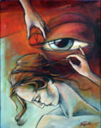 Red Eye Framed Prints - Stitch in Times Eye Framed Print by Jacque Hudson-Roate