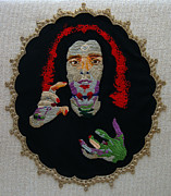 Portraits Tapestries - Textiles Metal Prints - Stitched Self Portrait #2 Metal Print by Al Ligammari II