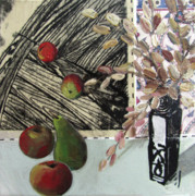 Linocut Mixed Media Posters - Stll life with pear apples and vase Poster by Peter Allan