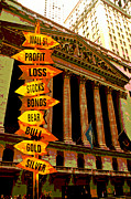 Gold Stock Framed Prints - Stock exchange and signs Framed Print by Garry Gay