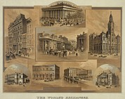 Stock Market Prints - Stock Exchanges In New York, Paris Print by Everett