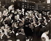 Exchanges Prints - Stock Traders On The Floor Of The New Print by Everett