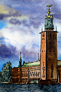 Sketchbook Painting Framed Prints - Stockholm Sweden Framed Print by Irina Sztukowski