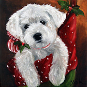 Christmas Dogs Prints - Stocking Stuffer Print by Mary Sparrow Smith