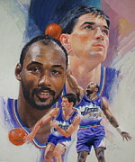 Basketball Abstract Painting Originals - Stockton-Malone by Cliff Spohn