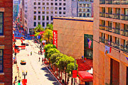 Hyatt Hotels Framed Prints - Stockton Street San Francisco Towards Union Square Framed Print by Wingsdomain Art and Photography