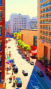 Hyatt Hotel Digital Art Prints - Stockton Street San Francisco . View Towards Union Square Print by Wingsdomain Art and Photography