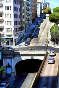 Metro Digital Art Prints - Stockton Street Tunnel in Hilly San Francisco . 7D7499 Print by Wingsdomain Art and Photography