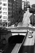 Tunnels Posters - Stockton Street Tunnel Midday Late Summer in San Francisco . Black and White Photograph 7D7499 Poster by Wingsdomain Art and Photography