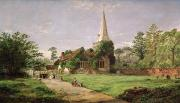 Village Paintings - Stoke Poges Church by Jasper Francis Cropsey
