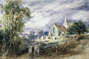 Tombstones Framed Prints - Stoke Poges Church Framed Print by John Constable