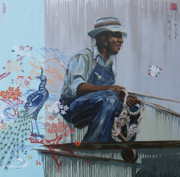 African-american Paintings - Stoking the Earth by Yuko Nogami Taylor
