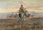 Plains Indian Paintings - Stolen Horses by Charles Marion Russell
