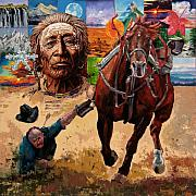 Cowboy Paintings - Stolen Land by John Lautermilch