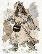 Pelts Prints - Stone Age Man, Early 20th Century Artwork Print by Cci Archives