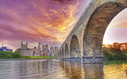 Minneapolis Skyline Posters - Stone Arch  Bridge Poster by Bill Frische